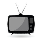 TV old vector illustration in black color Stock Photo