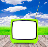 TV outdoors on wooden with blue sky Royalty Free Stock Photos