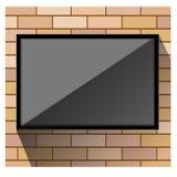 TV på orange tegelstenvektor för vägg Royaltyfria Bilder