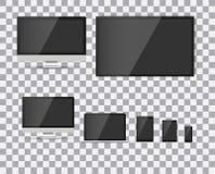 TV, pantalla en blanco moderna lcd, llevada, en fondo del aislante, el ejemplo elegante EPS10 del vector Imagen de archivo libre de regalías