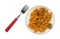 TV Pasta Dinner On Plate With Fork Stock Photo