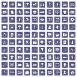 100 TV-pictogrammen geplaatst grunge saffier Stock Afbeelding