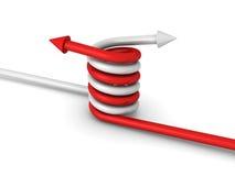 Två pilar röra sig i spiral tillsammans som symbol av partnerskapteamwork Arkivbild