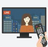 TV pilot wskazujący przy ekranem Zdjęcia Royalty Free