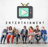 TV Play Button Media Entertainment Graphic Concept Stock Photography
