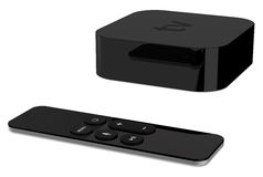 Tv player box device with remote wireless pilot. Stock Images