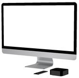 Tv player box device with remote wireless pilot. Royalty Free Stock Photography
