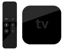 Tv player box device with remote wireless pilot. Stock Photography