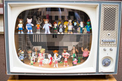 TV with Polish cartoon characters. TV with toys - characters of famous Polish cartoons. Picture taken in front of Old Toys Gallery in Gdansk, Poland Stock Photography