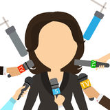 Tv presenter. Tv presenter giving interview to many journalists on white background. Journalist or reporter on television or radio royalty free illustration