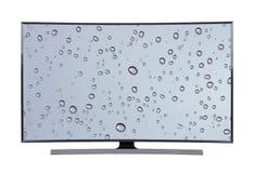 TV principale con lo schermo della goccia di acqua isolato su fondo bianco Immagine Stock