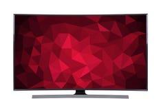 TV principale con lo schermo geometrico isolato su fondo bianco Immagine Stock Libera da Diritti