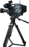 TV Professional digital video camera on tripod Royalty Free Stock Photo