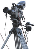 TV Professional studio digital video camera on tripod isolated o Stock Image
