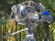 TV Professional studio digital video camera on tripod Stock Images