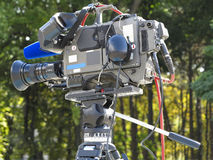 TV Professional studio digital video camera on tripod. Ready for work Stock Photo