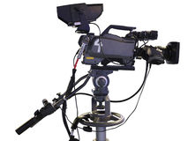 TV Professional studio digital video camera on white Royalty Free Stock Images
