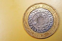 Två 2 pund Penny British Currency Sterling Coin Arkivbilder