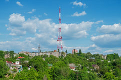 TV and radio broadcasting tower Stock Image