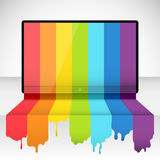 Tv with rainbow paint Royalty Free Stock Photography