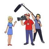 TV-rapport, die nieuws schieten Een vrouwelijke verslaggever, een cameraman en een correcte ingenieur geïsoleerde beeldverhaal ve stock illustratie