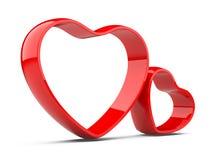 Två röda hjärtor Arkivbilder