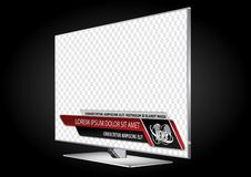 TV realistic flat screen lcd, plasma with news bars for Video headline title or lower third. stock illustration
