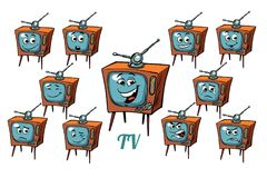 TV receiver emotions emoticons set on white background vector illustration