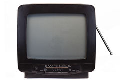 TV with Receiver from the nineties Stock Photo