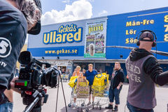 TV recording at Gekås Ullared, Sweden. TV team from Chanel 5 Sweden, recording in front of the mall Royalty Free Stock Photography