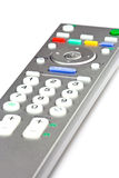 TV Remote Control. Closeup of TV remote control on white background Stock Photos