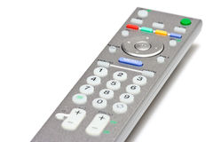 TV Remote Control. Closeup of TV remote control on white background Stock Images