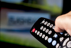 TV remote control being pointed Royalty Free Stock Photo