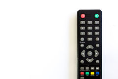 Tv remote control black on white Stock Images