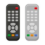 TV Remote Control in Black and White Design. Vector. Illustration Stock Image