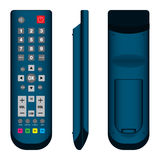 TV Remote Control in Dark blue Front, Side and Back View on white background. Remote Control Royalty Free Stock Photography