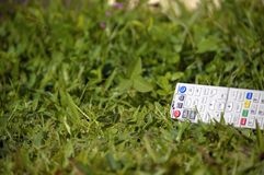 Tv remote control on grass Royalty Free Stock Images