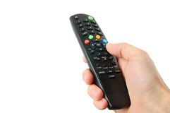 TV remote control in hand isolated on white Stock Photography