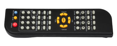 tv remote control keypad black isolated on white background Royalty Free Stock Photos