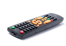 Tv remote control keypad black on white isolated Stock Image