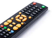 Tv remote control keypad black on white isolated Stock Images