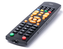 Tv remote control keypad black on white isolated Royalty Free Stock Photography
