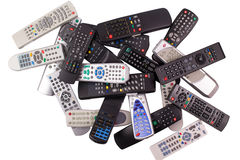 Tv remote control keypad black Stock Photo