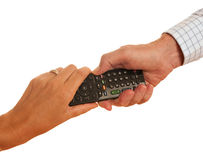 TV remote control - man and woman, isolated Stock Photography
