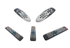 Tv remote controls isolated with clipping patch Stock Photo