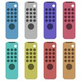 Tv remote design. Eight different color variations. Isolated on white. Tv remote design. Eight different color variations. Isolated on a white background vector illustration