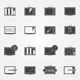 TV repair or service icons set Royalty Free Stock Photography