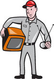 TV Repairman Technician Cartoon. Illustration of TV repairman worker tradesman holding TV set and antennae viewed from front done in cartoon style on isolated vector illustration
