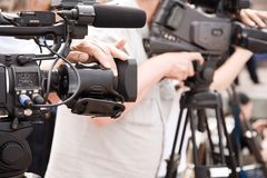 Tv reportage Stock Photography