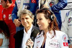 TV reporter. Announces the winners at the Fatih Grand Prix ceremony during UIM World Offshore 225 Championship on September 25, 2010 in Istanbul, TURKEY Stock Images